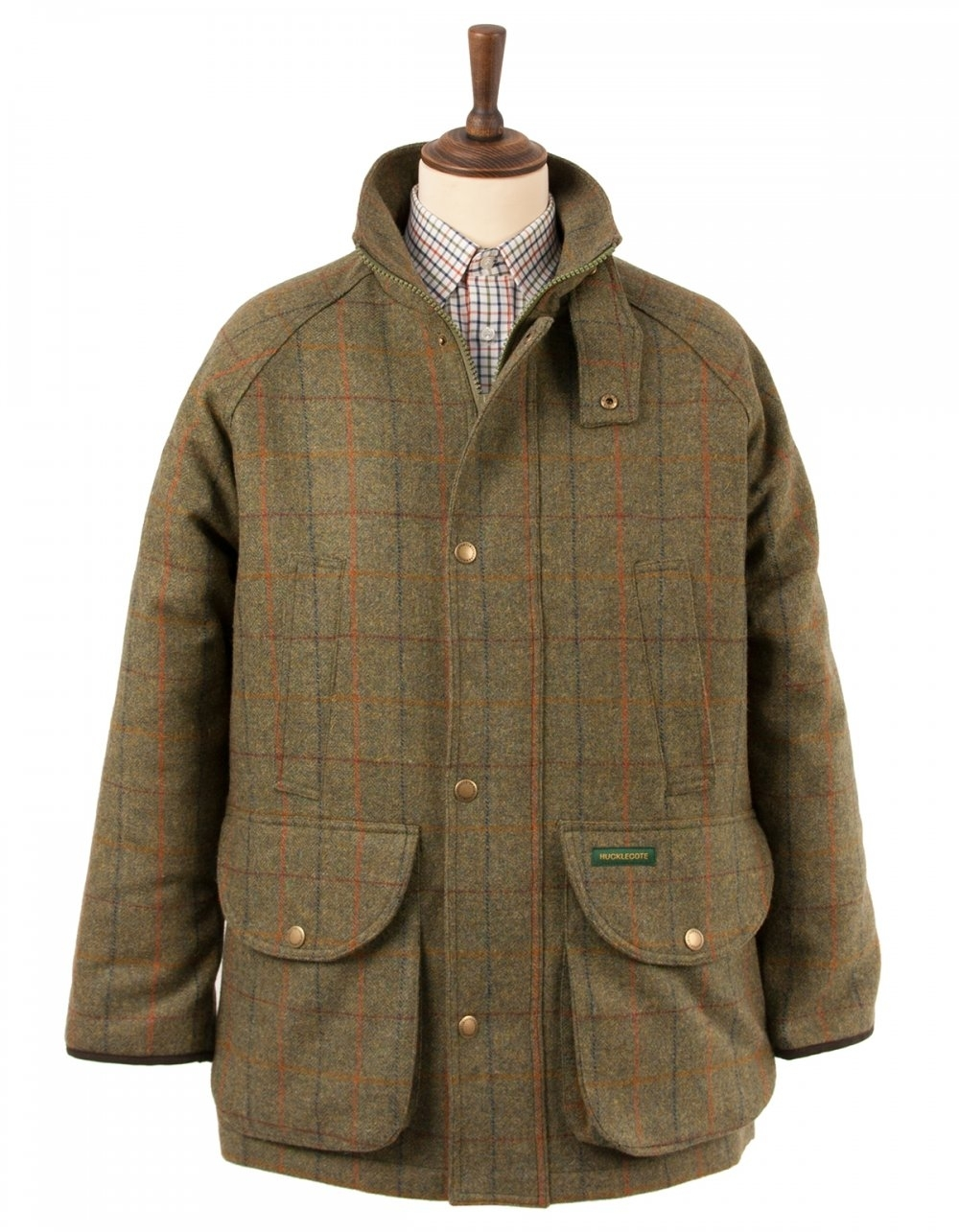 Hucklecote Morpeth Waterproof Tweed Shooting Jacket - Green ...