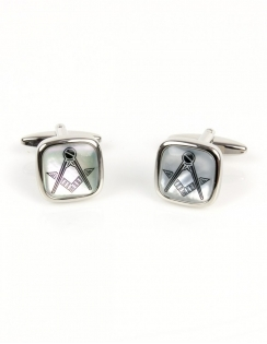 Mother of Pearl Cushion Masonic Cufflinks 90-2835