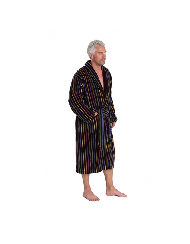 Bown Of London Mozart Velour Dressing Gown - Black Stripe