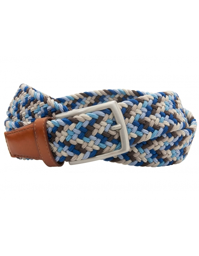 Profuomo Multi Colour Blues Elastic Belt with Leather ends