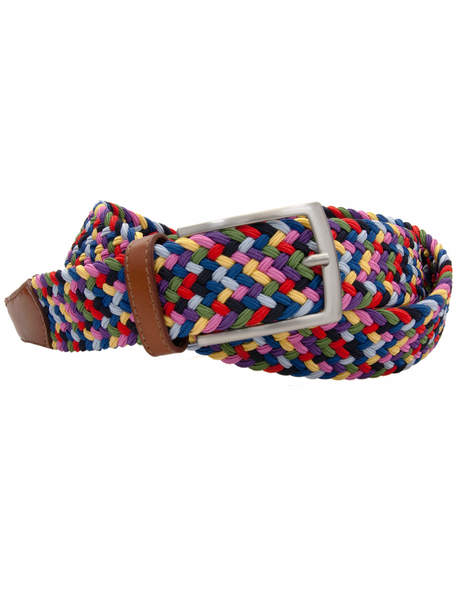 Profuomo Multi Colour Elastic Belt with Leather ends