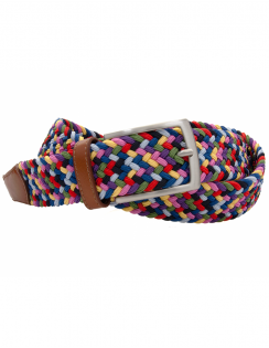 Multi Colour Elastic Belt with Leather ends