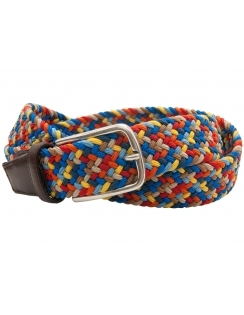 Multi Colour Elastic Belt with Leather ends -