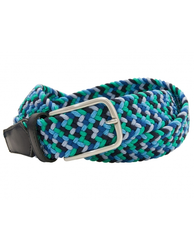 Profuomo Multi Coloured Elastic Belt with Leather Ends - Green Blue