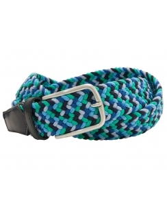 Multi Coloured Elastic Belt with Leather Ends - Green Blue
