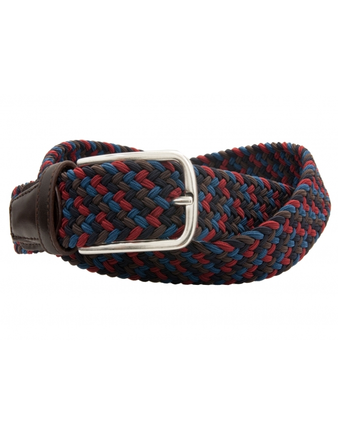 Profuomo Multi Coloured Elastic Belt With Leather Ends - Navy/Red/Brown