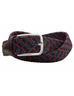 Multi Coloured Elastic Belt With Leather Ends - Navy/Red/Brown