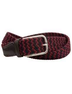 Multi Coloured Elastic Belt With Leather Ends - Navy/Red
