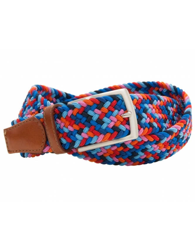 Profuomo Multi Coloured Elastic Belt with Leather Ends - Red