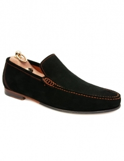 Nicholson Contrast Stitch Suede Loafer - Black