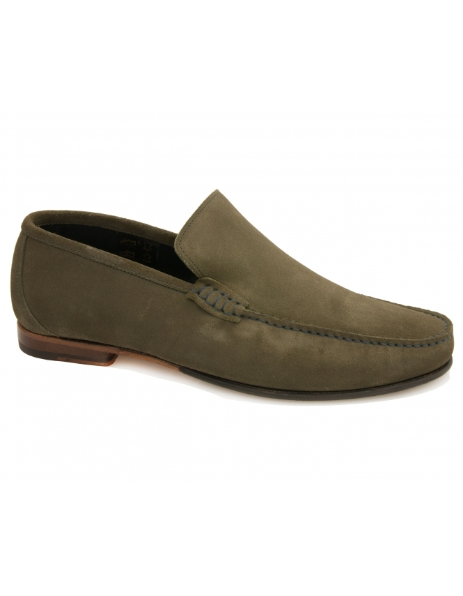 Loake Nicholson Contrast Stitch Suede Loafer - Olive