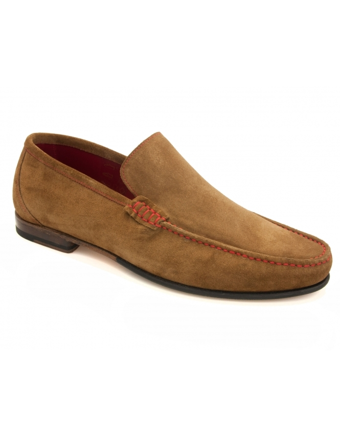 Loake Nicholson Contrast Stitch Suede Loafer - Tan