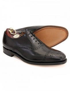 Oban - Black Polished Leather Semi Brogue