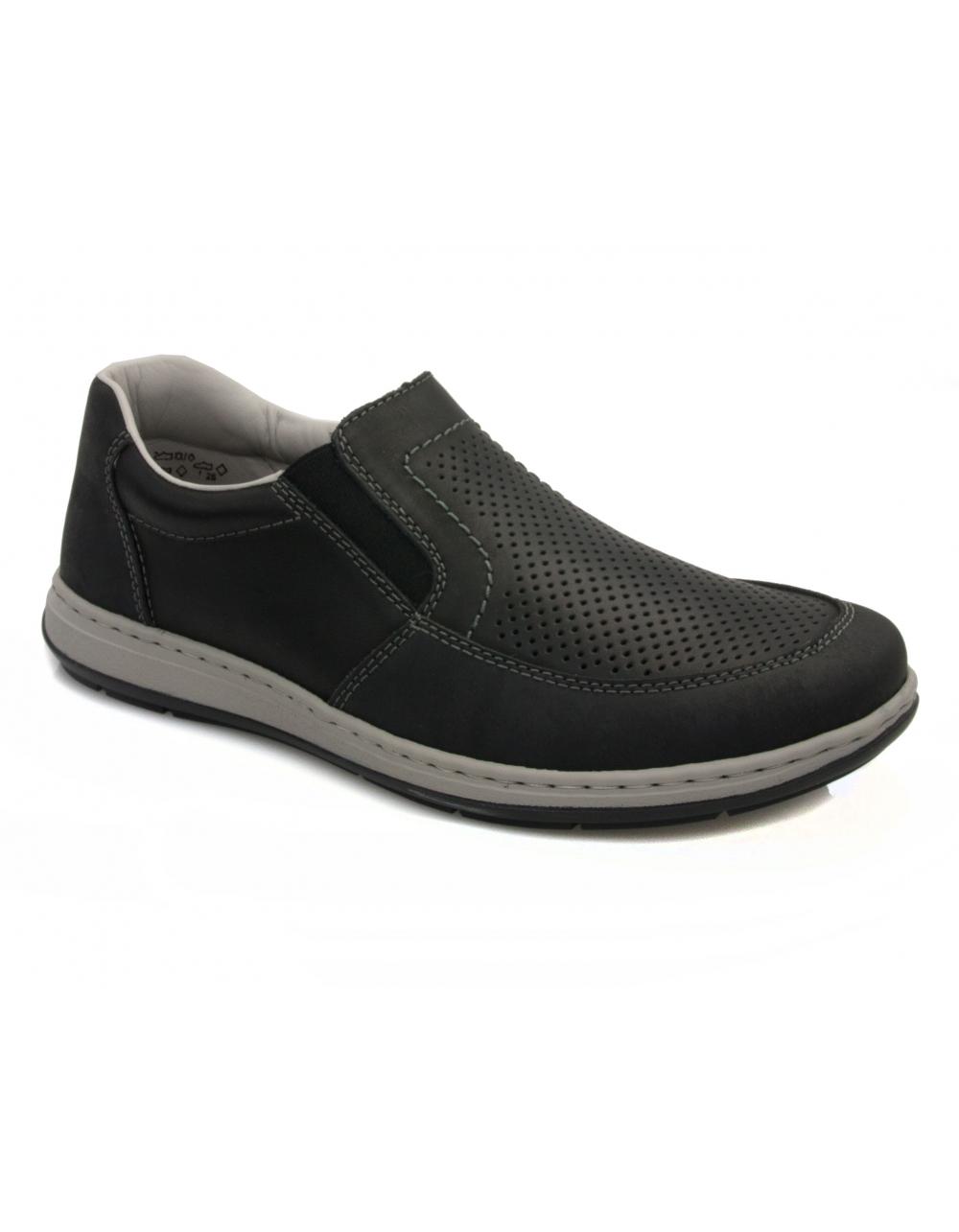 rieker oilybuk slip on shoe black