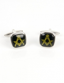 Onyx Cushion Masonic Cufflinks