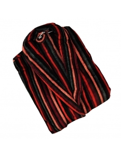 Orleans Velour Dressing Gown - Red Stripe