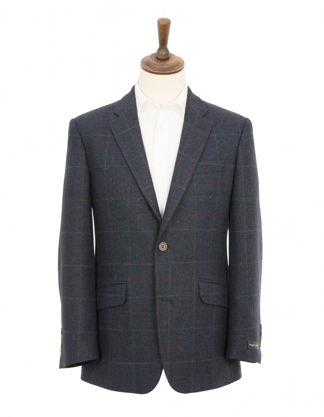 Hugo James Overcheck Pure Wool Jacket - Navy
