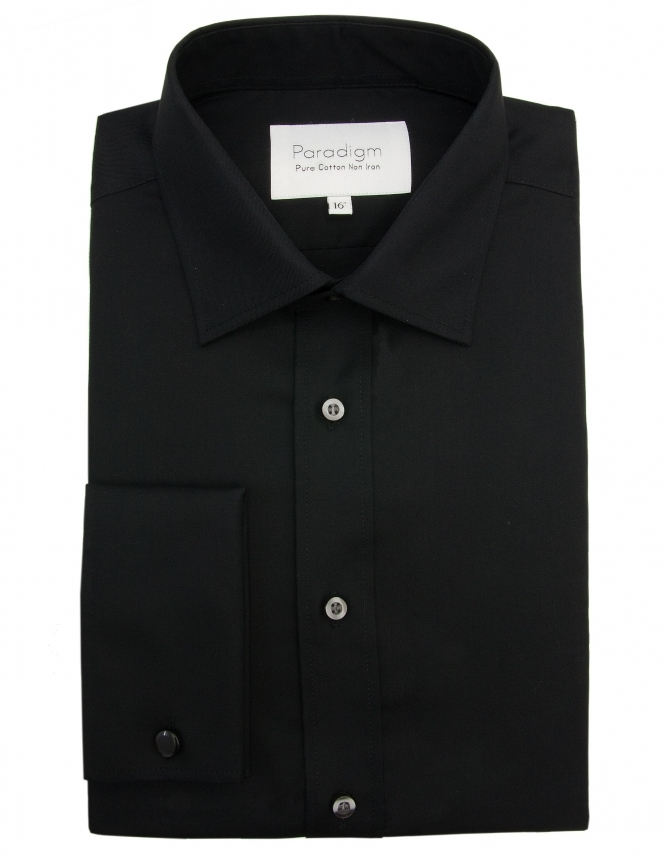 Paradigm by Double Two Paradigm Non-Iron Pure Cotton Shirt - Double Cuff - Black