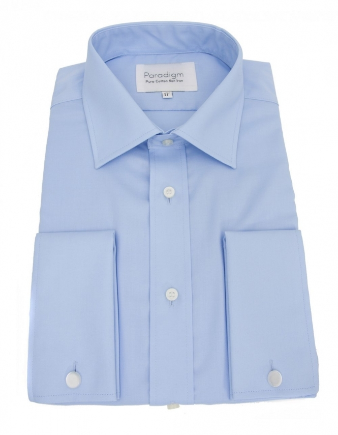 Double Two Paradigm Non-Iron Pure Cotton Shirt - Double Cuff - Blue