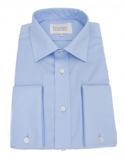 Paradigm Non-Iron Pure Cotton Shirt - Double Cuff - Blue