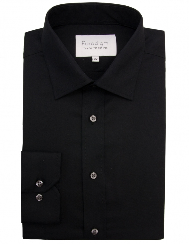 Paradigm by Double Two Paradigm Non-Iron Shirt - Pure Cotton - Single Cuff - Black