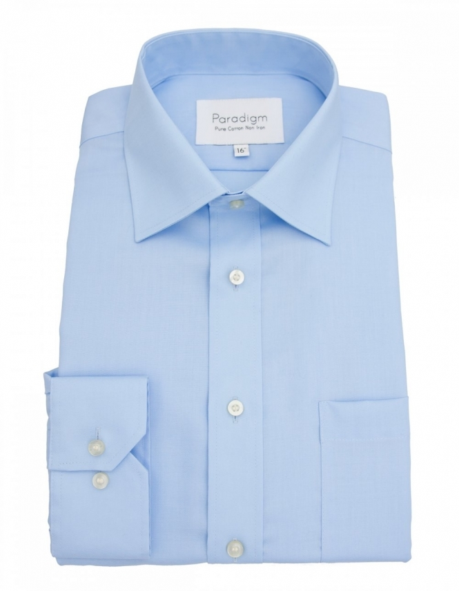 Paradigm by Double Two Paradigm Non-Iron Shirt - Pure Cotton - Single Cuff - Blue