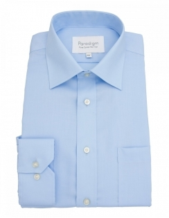 Paradigm Non-Iron Shirt - Pure Cotton - Single Cuff - Blue