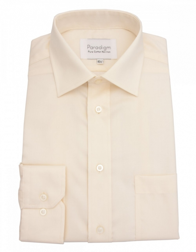 Paradigm by Double Two Paradigm Non-Iron Shirt - Pure Cotton - Single Cuff - Cream