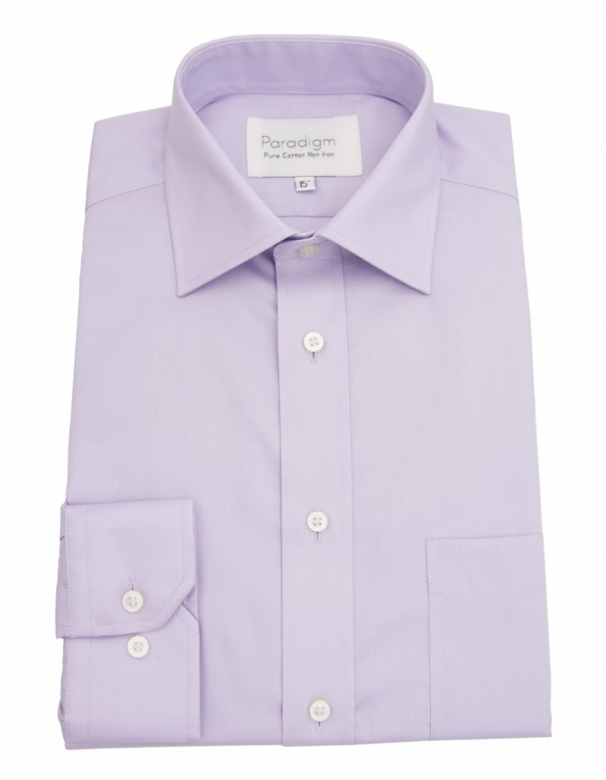 Paradigm by Double Two Paradigm Non-Iron Shirt - Pure Cotton - Single Cuff - Lilac