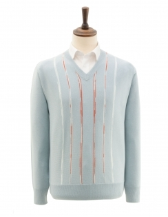 Patterned V Neck Jumper - Blue