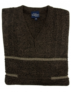 Patterned V Neck Jumper - Brown
