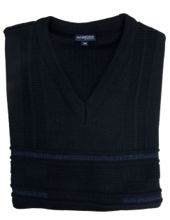 Patterned V Neck Jumper - Navy