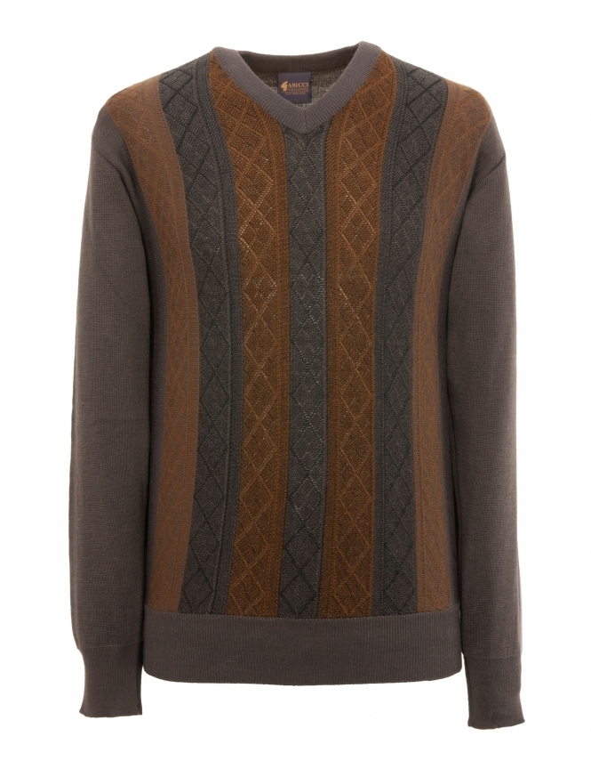 Gabicci Patterned V Neck Jumper - Pewter