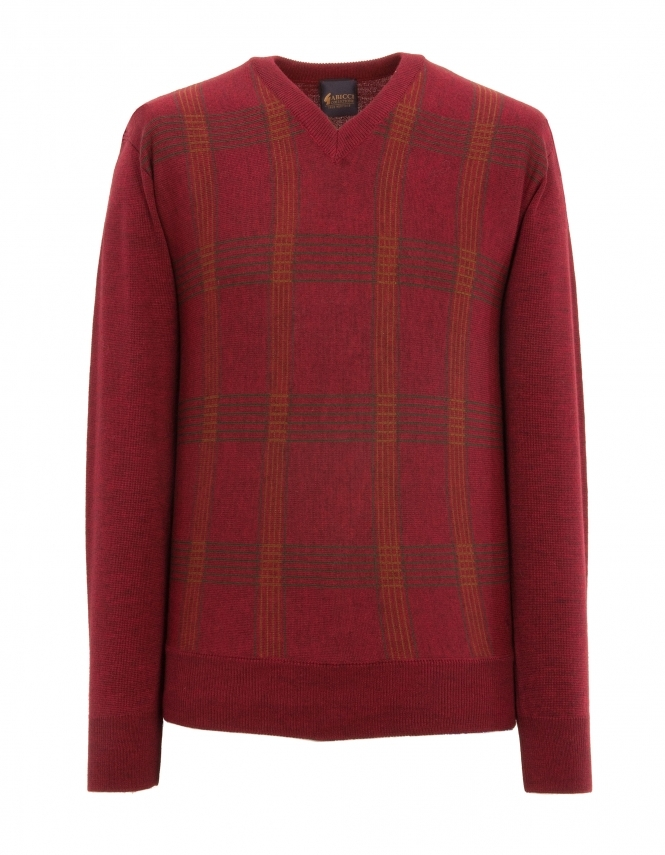 Gabicci Patterned V Neck Jumper - Russet