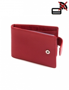 Pebble Grain Leather Credit Card Holder with RFID Blocking Protection - Berry