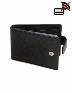 Pebble Grain Leather Credit Card Holder with RFID Blocking Protection - Black