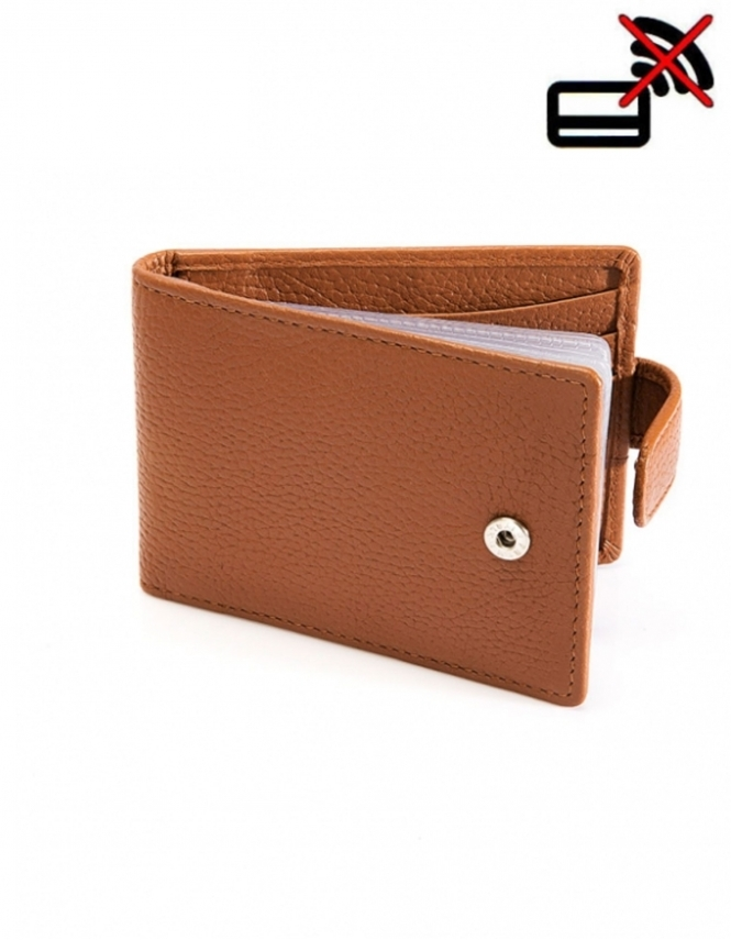 Dents Pebble Grain Leather Credit Card Holder with RFID Blocking Protection - Cognag