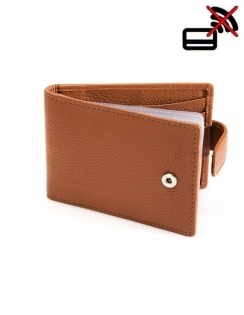 Pebble Grain Leather Credit Card Holder with RFID Blocking Protection - Cognag