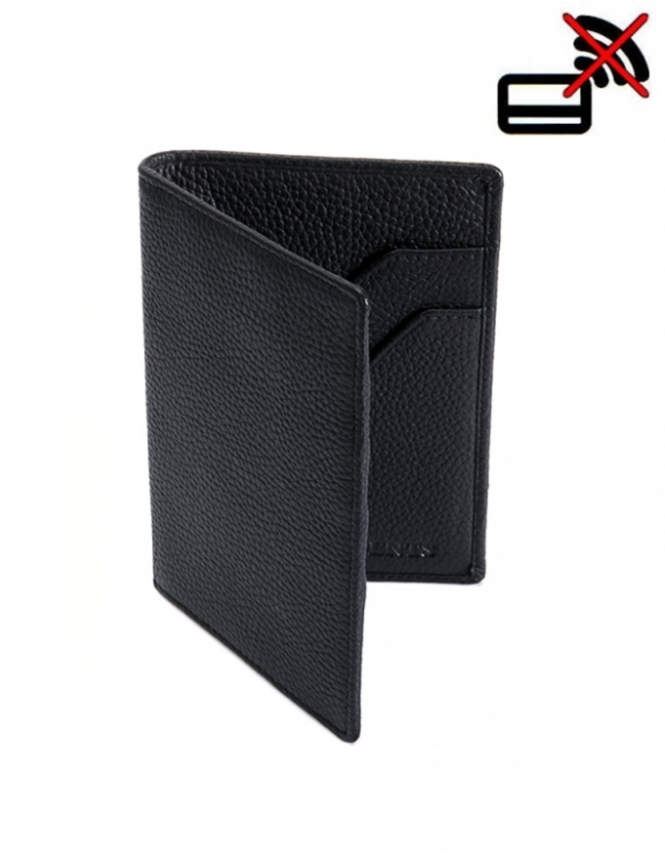 Dents Pebble Grain Leather Passport Holder with RFID Blocking Protection - Black