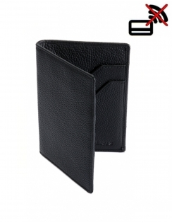 Pebble Grain Leather Passport Holder with RFID Blocking Protection - Black