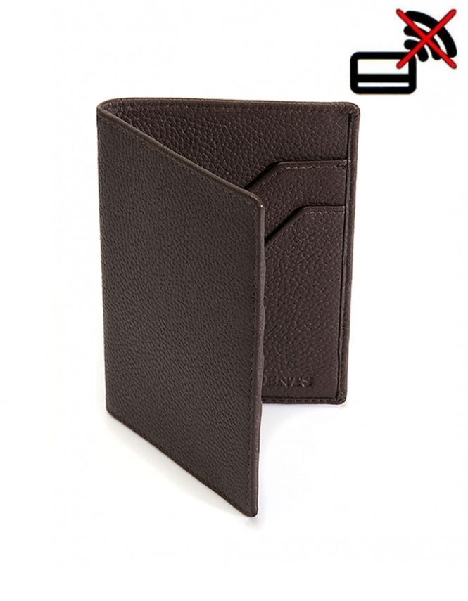 Dents Pebble Grain Leather Passport Holder with RFID Blocking Protection - Chocolate