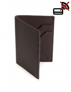 Pebble Grain Leather Passport Holder with RFID Blocking Protection - Chocolate