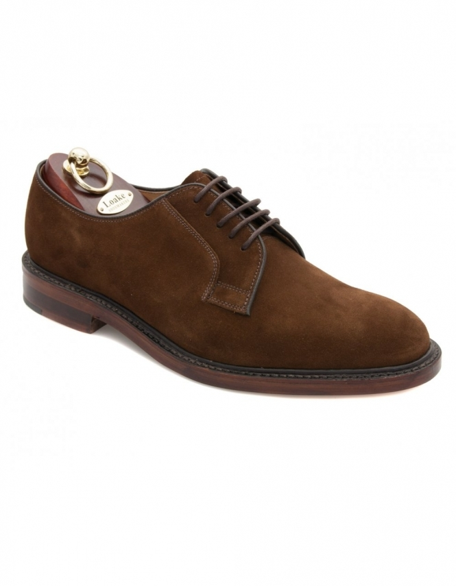 Loake Perth Plain Derby Lace Suede Shoes - Dark Brown