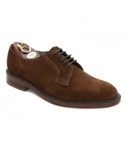 Perth Plain Derby Lace Suede Shoes - Dark Brown