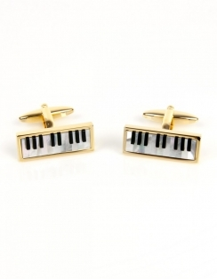 Piano Keyboard Cufflinks - Real Onyx & Mother of Pearl 90-1071