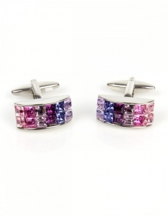 Pink Crystals Curved Cufflinks 90-1174