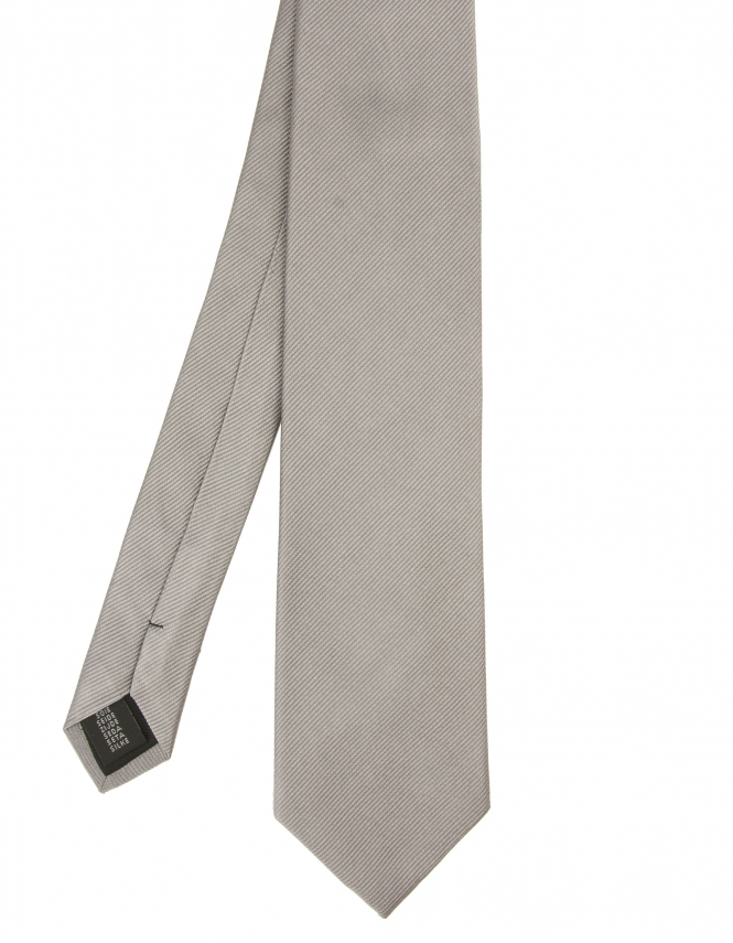 Michaelis Plain Woven Silk Tie - Grey