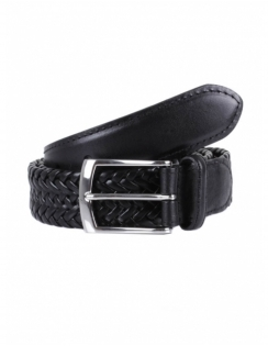 Plaited Leather Belt - Black