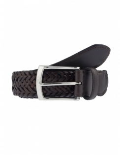 Plaited Leather Belt - Brown
