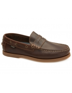 Plymouth Leather Slip On Deck Shoe - Brown